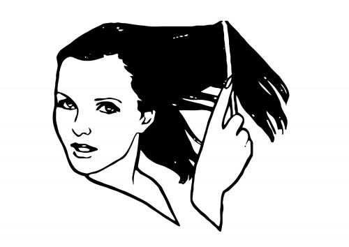 vrouw op schooltekening